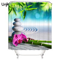 Urijk 1PC Waterproof 3D Shower Curtain For The Bathroom Stone Green Bamboos Printed Decoration Flower Bath