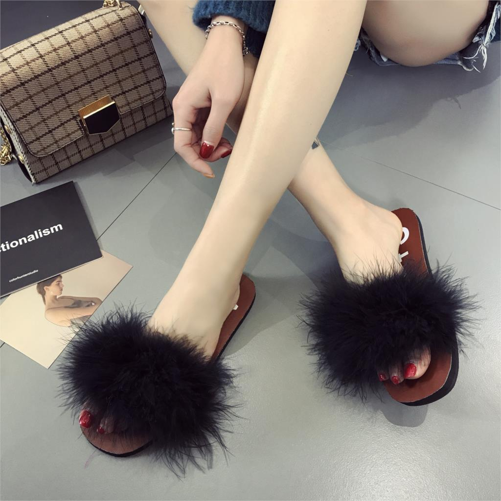 Women Summer Slippers Ostrich Fur Beach Sandals Summer Slides Flip Flop Soft Sole Outdoo ...
