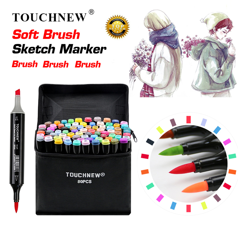 TOUCHNEW Soft Brush Markers Pen Set Sketch Dual Brush Markers Alcohol Based Markers Manga Drawing Animation Design Art Supplies