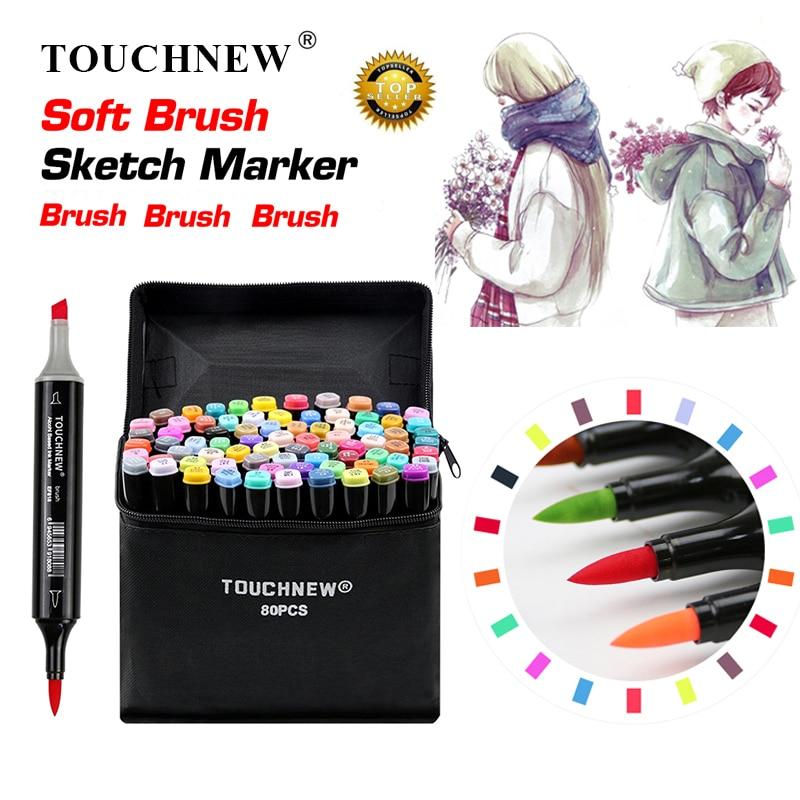 TOUCHNEW doux pinceau marqueurs stylo ensemble croquis double brosse marqueurs à base d'alcool marqueurs Manga dessin Animation Design Art fournitures