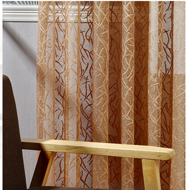 Modern Brown Translucidus Tulle Curtains For Living Room Home Decor Sheer Kitchen  Curtains Living Room Divides