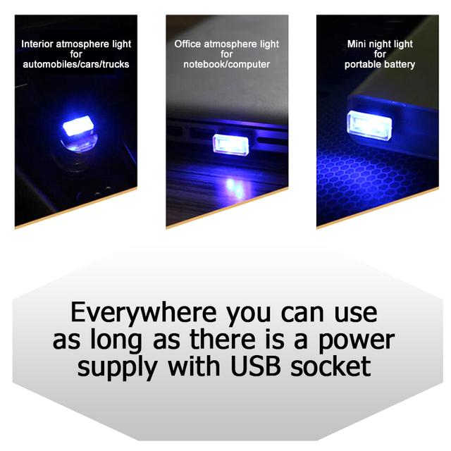 CNSUNNYLIGHT Car USB LED Atmosphere Lights Decorative Lamp Emergency Lighting Universal PC Portable Plug and Play Red/Blue/White