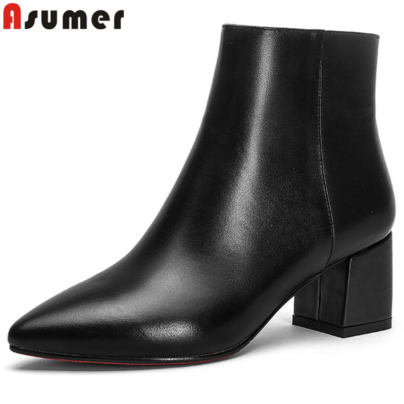 ASUMER black fashion autumn winter boots women pointed toe zip genuine leather boots thick high heels ankle boots big size 33-43 asumer black fashion autumn winter boots women pointed toe zip genuine leather boots thick high heels ankle boots big size 33 43