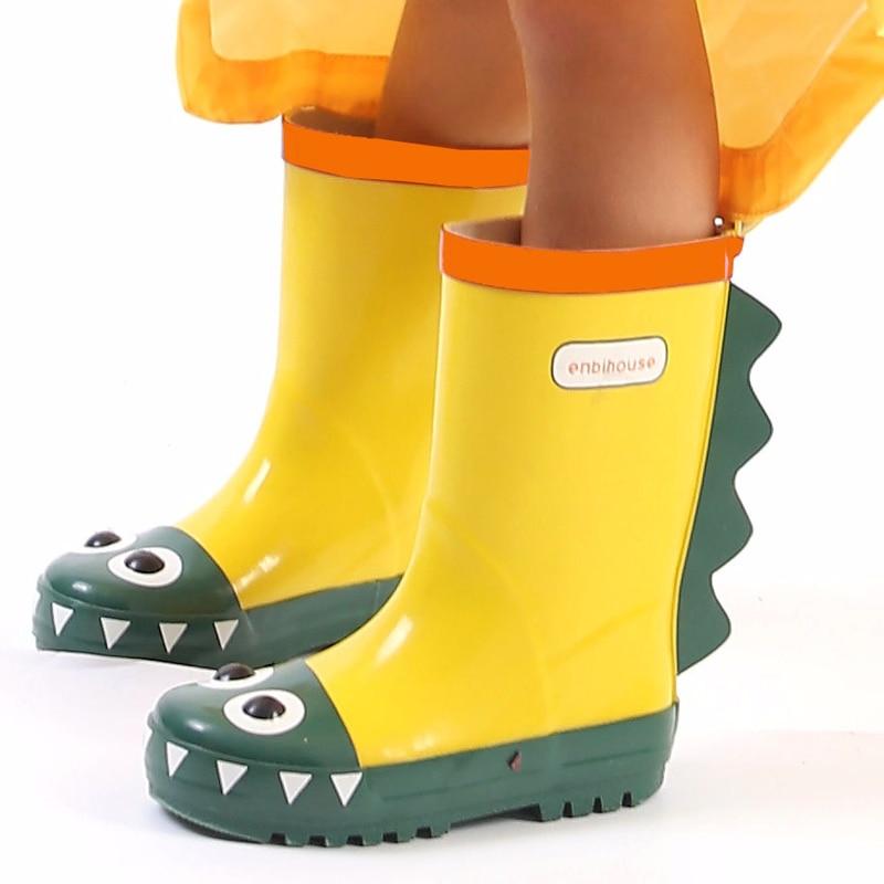 Kids Rubber Rain Boots 3D Dinosaur Designer Cute Cartoon Waterproof Skid-proof  Infant Children Middle Tube Slip-on RainbootsKids Rubber Rain Boots 3D Dinosaur Designer Cute Cartoon Waterproof Skid-proof  Infant Children Middle Tube Slip-on Rainboots