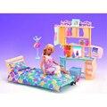 Muebles en miniatura Juego de Dormitorio Suave Amarillo Mini Accesorios para Barbie Doll House Juguetes Clásicos para La Muchacha Envío Gratis