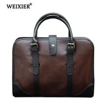 WEIXIER 2019 Hot New Brand Designer Best Selling PU Fashion Simple Mens Handbag Retro Style Business Travel Computer