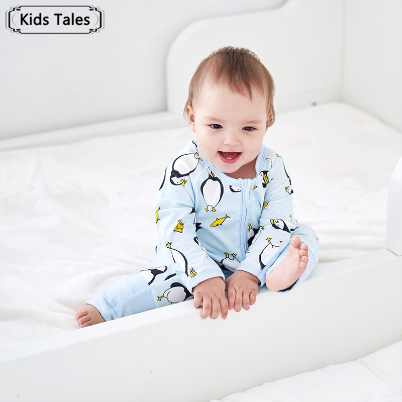 Kids Tales Newborn Baby Jumpsuit New Arrival Cute Penguin Print   Rompers   with Double Zipper Sliders for Baby Girls Boys SR372