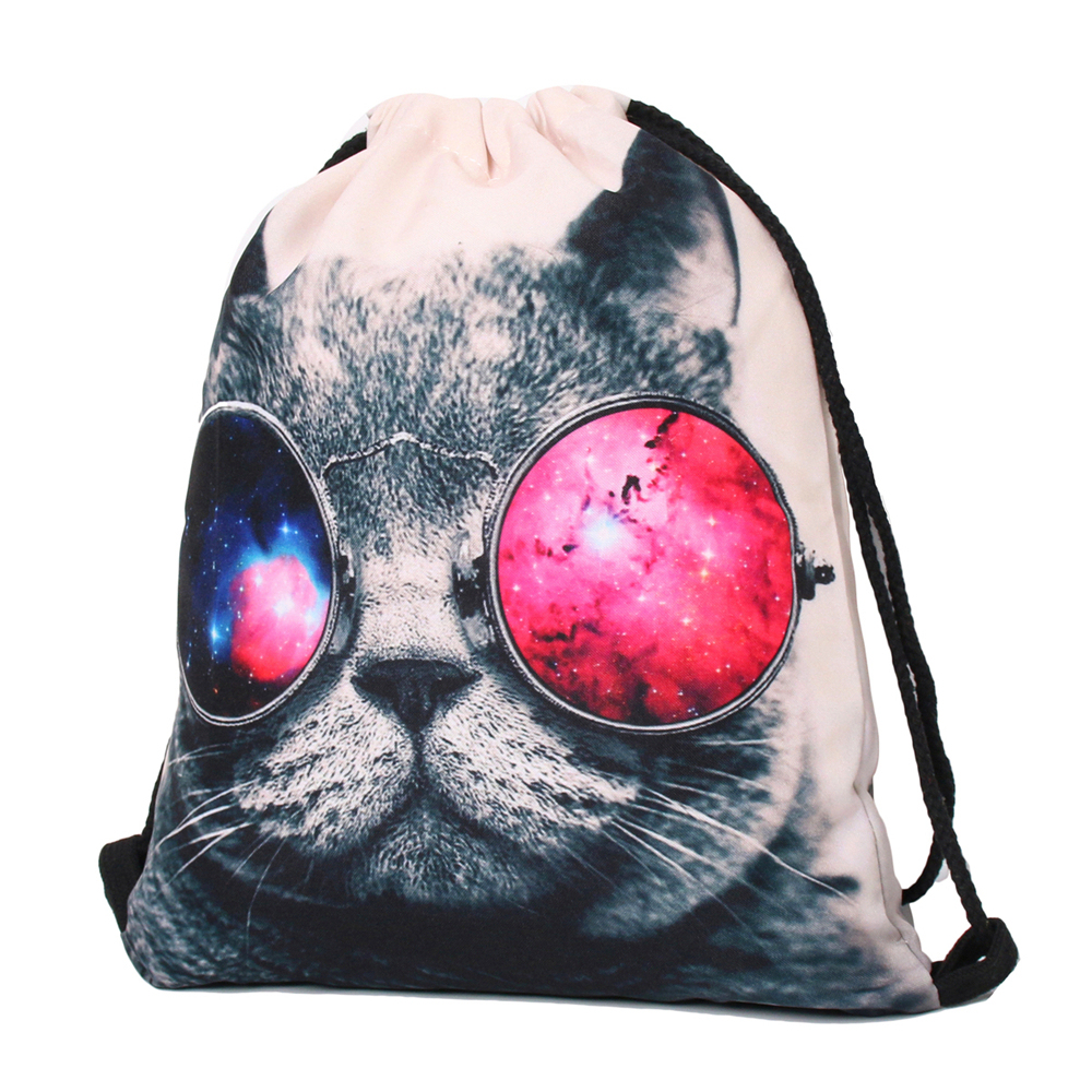 Galaxy Sunglasses Cat 3D Printing Backpack Women Bag Fashion Travel Drawstring  Bag mochila feminina backpacks BB159