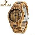 2016 bewell hombres moda casual hombres reloj de cuarzo correa de reloj de cuarzo de madera ultra-delgado caso relogio masculino Viernes negro 086b