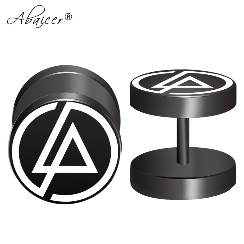 2pcs/Lot Linkin Park Rock Band Fake Ear Gauge,Plugs and Tunnels,Fake Piercing Expander Stretcher, Punk Earring Gift For Man number