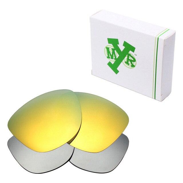 2 Pairs MRY ПОЛЯРИЗОВАННЫХ Сменные Линзы для Oakley Frogskins Солнцезащитные Очки Серебро Титана и 24 К Золото
