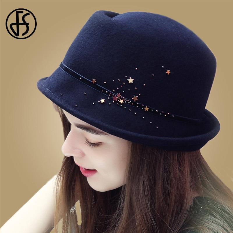 7686ae32258 Detail Feedback Questions about FS Women Winter Autumn 100% Wool Felt Hats  Ladies Fedoras Jazz Hat Wide Brim Caps Chapeau Homme Vintage Brown Navy Red  Black ...