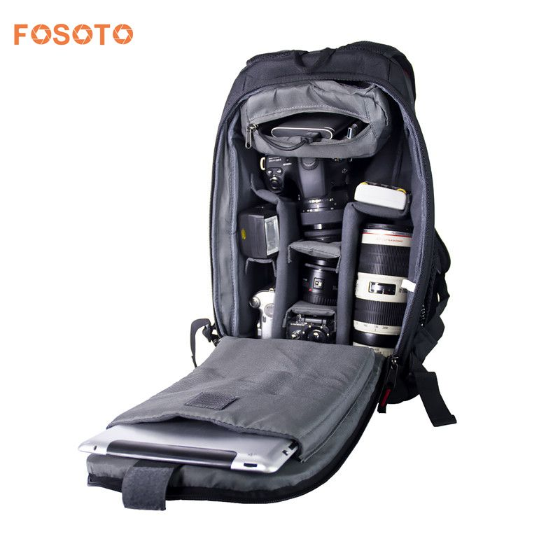 fosoto Digital DSLR Camera Bag Waterproof Photo Backpack Photography Soft Bags Video Case for Nikon Canon Sony With Rain Cover lowepro protactic 450 aw backpack rain professional slr for two cameras bag shoulder camera bag dslr 15 inch laptop