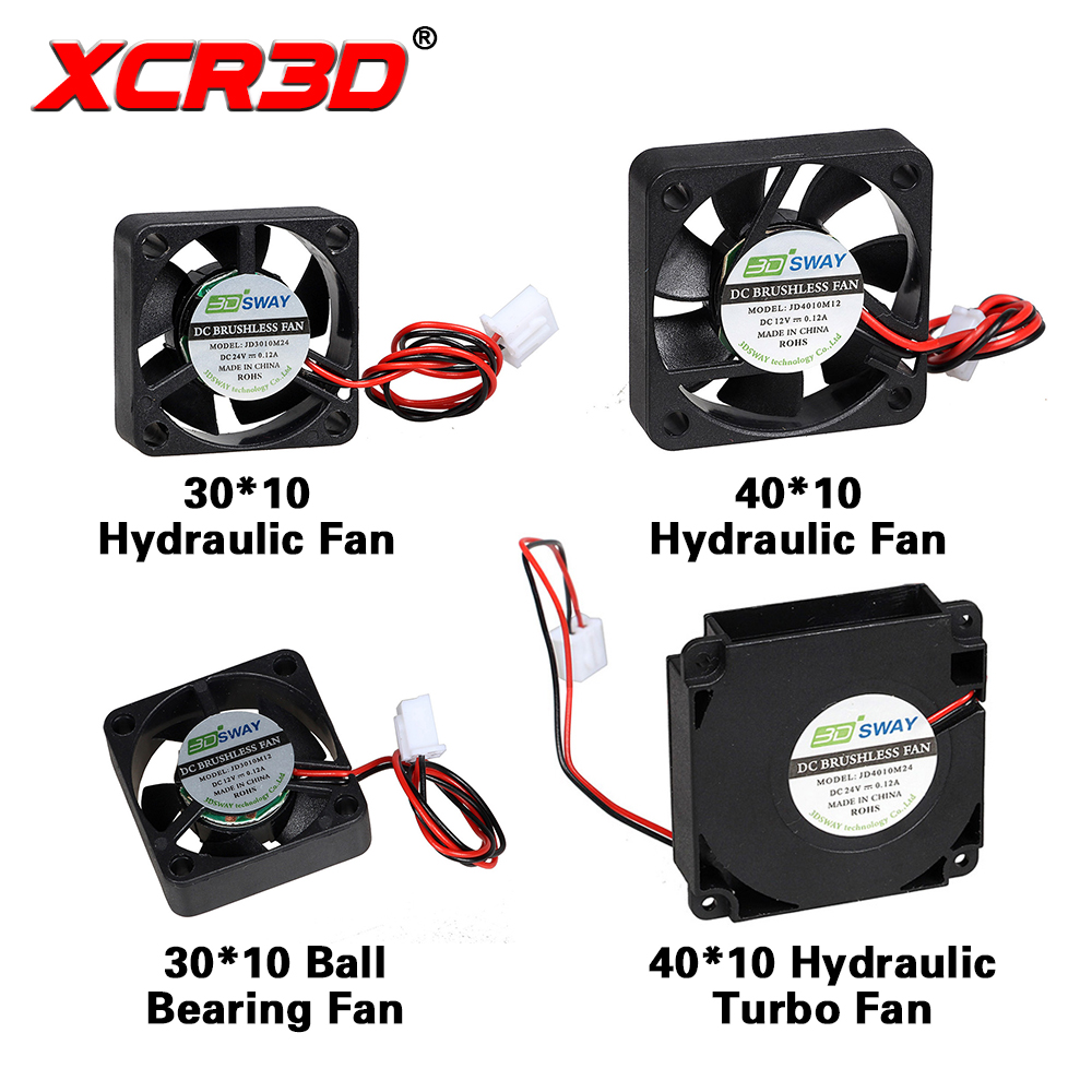 XCR3D 3D Printer Parts Cooling Fan Hydraulic Turbo Ultra-quiet Ball Bearing Fan 30*30/40*40*10mm 12V/24V DC XH2.54 Wire 1 sunon original kde2404pfv3 double ball bearing cooling axial fan dc 24v 0 9w 4010 40 40 10mm 100 pcs lot