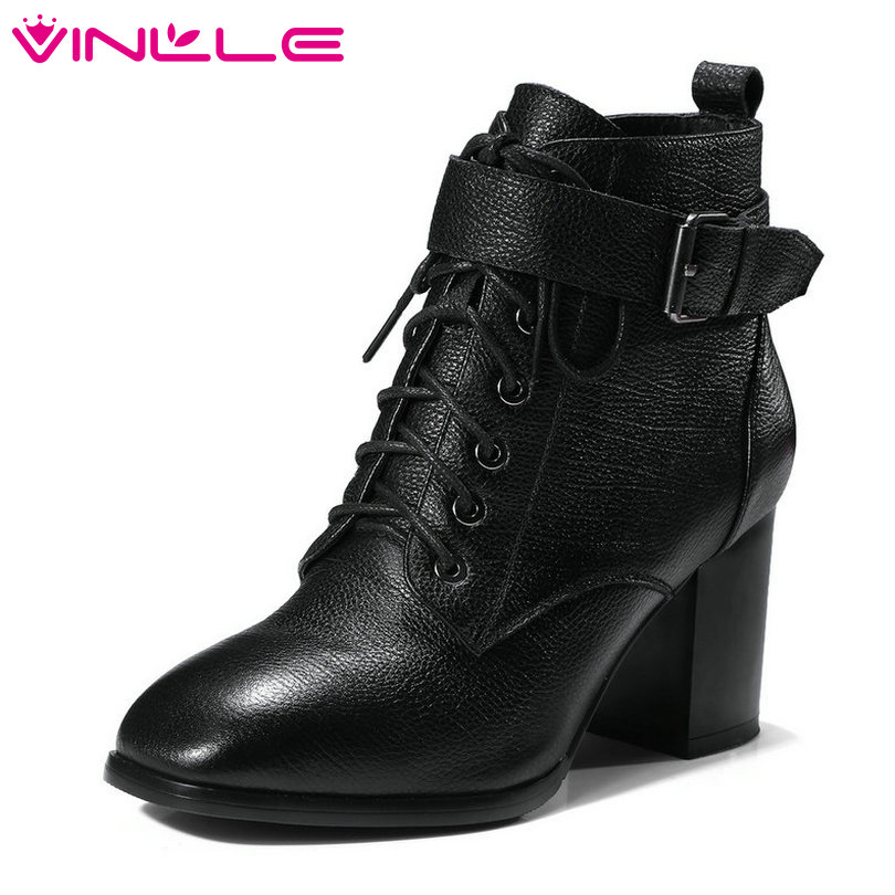 VINLLE 2019 Women Ankle Boots Platform Elegant Square High