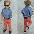 2-8Yrs Casual Children Clothing Sets 2016 Baby Boys Clothing Sets Brand Jeans Shirts + Pants 2pcs/lot Spring Autumn Kids Suits