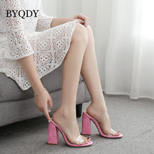 BYQDY Designer Summer PVC Transparent Pink Mules Square High Heels Sandals Female Peep Toe Pumps Valentine Shoes Size 35-42