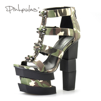 Pink Palms Summer Women Shoes High Heels Wedge Sandals Blue Camouflage Bullet Decoration Sexy Punk Party