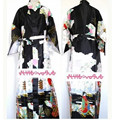 Frete Grátis Preto das Mulheres Chinesas Seda Rayon Robe Kimono Bath Vestido Camisola Tamanho Sml XL XXL XXXL W2S005