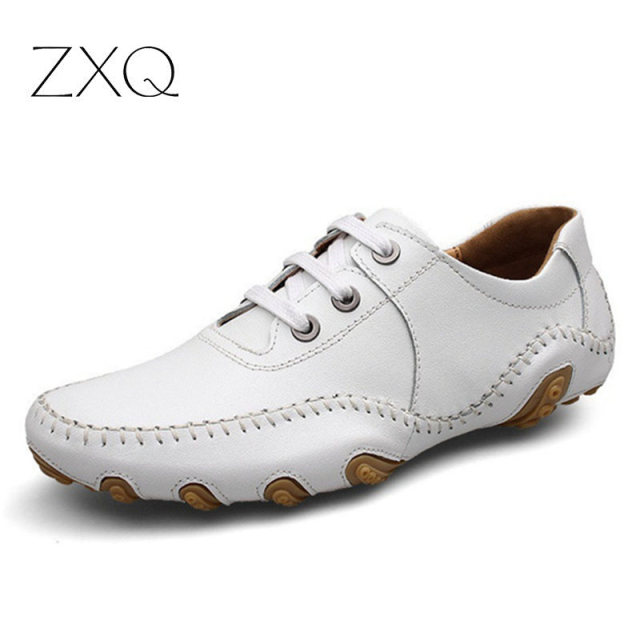 Brand Genuine Leather Men Shoes Spring Male Casual Shoes New 2015 Summer Fashion Leather Shoes Men's Shoes Flats Zapatillas