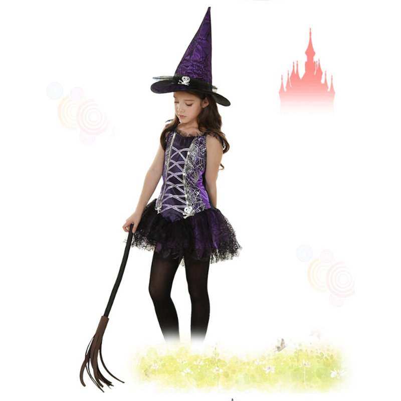 Halloween Fancy Dress with Hat Wizard Witch Cosplay Children girl performances clothes
