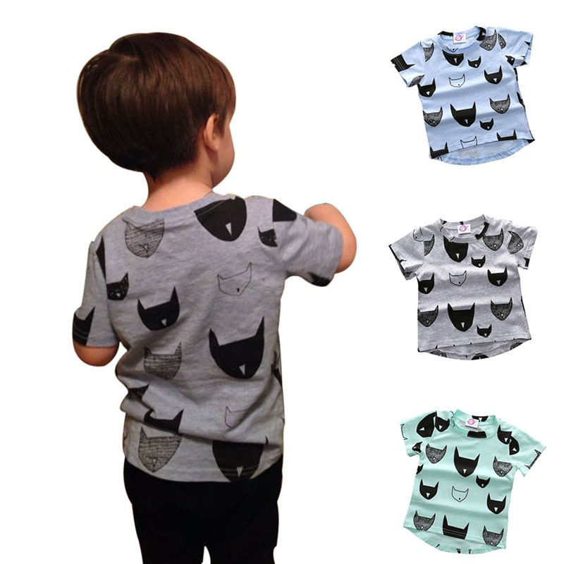 Baby Boy Cloth Fashion Kids T-shirt 100% Cotton Cat Print Short Sleeves Boys Cloth Baby T-shirt Boys Cute Tee