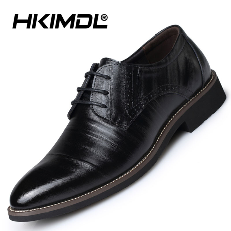 HKIMDL Mens Shoes Genuine Leath Man Casual Shoes Fashion Oxford Lace Up Brogue Shoes Men Derby Shoes Black plus Size 38 48