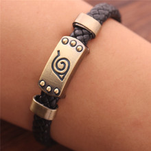 HOMOD Hot Anime Naruto Silver Alloy Bracelet Leather Punk Bangle Cosplay Jewelry Can Dropshipping