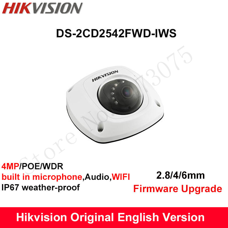 In Stock Hikvision English Version DS-2CD2542FWD-IWS  4MP CCTV Camera built in microphone Audio IP Camera POE wifi Camera IP67 free shipping in stock new arrival english version ds 2cd2142fwd iws 4mp wdr fixed dome with wifi network camera