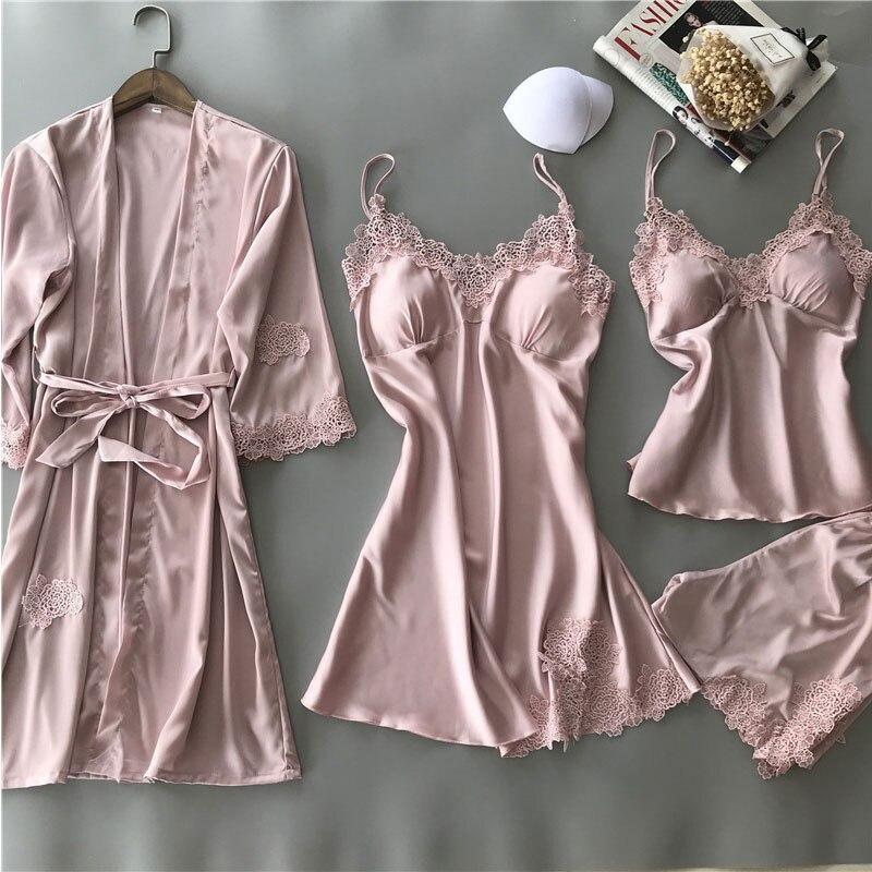 Women Sexy Pajamas 4 Pieces Satin Sleepwear Imitation Silk Home Wear Home Clothing Lace Sleep Lounge Pyjama with Chest Pads