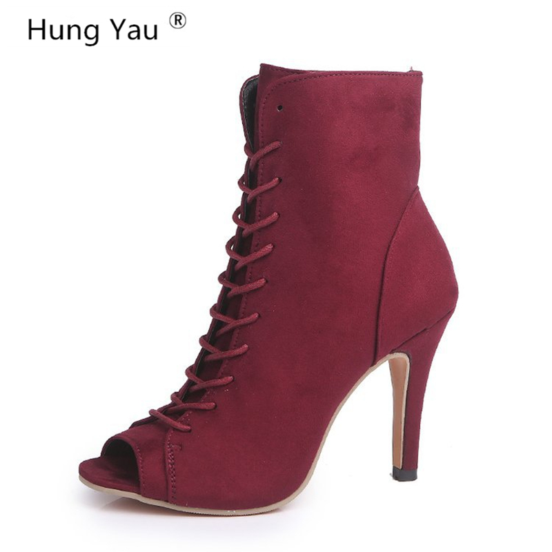 e16874d9b8f1 Hung Yau Open Peep Toe High Heel Women Boots Women Sexy Summer Ankle  Leather Boots Lace