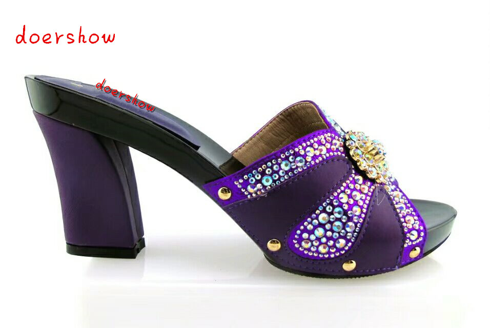 doershow Hot selling lady sandal with crystal for party fashion Italian Shoes high quality African lady high heel shoes !HTX1-10 doershow new coming purple design african sandal shoes with shinning stones for fashion lady free shipping jk1 36