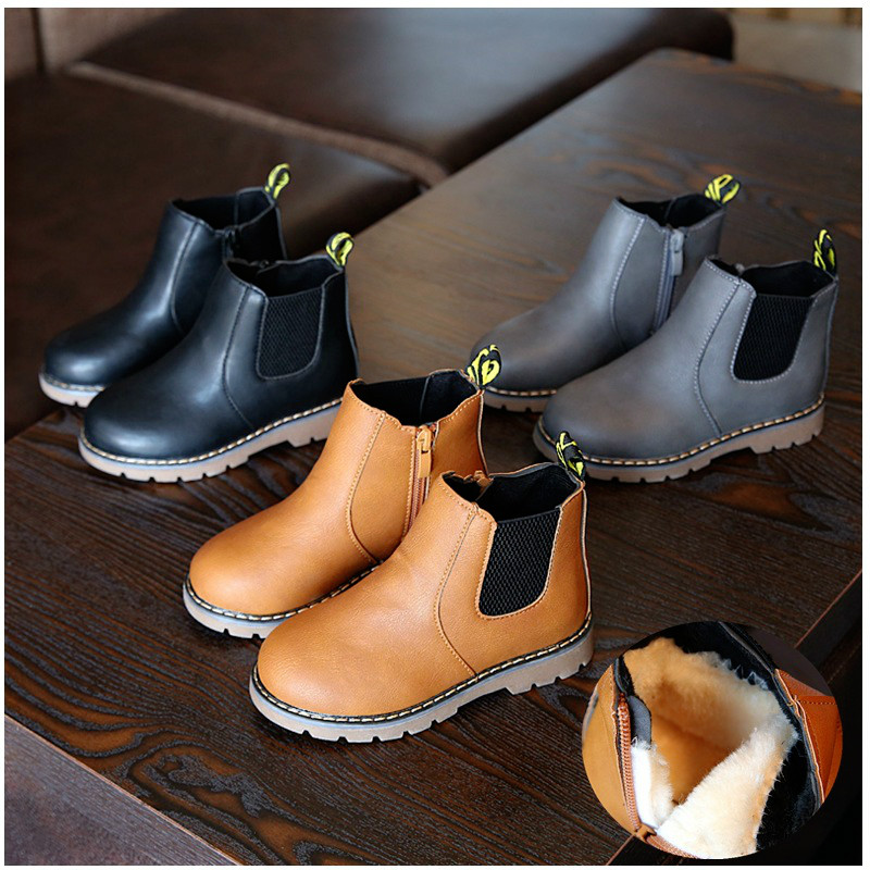 Martin Boots Leather Kids Shoes For Baby Girls In Winter New Fashion Children Shoes British Boys Single And Cotton Inside Casual