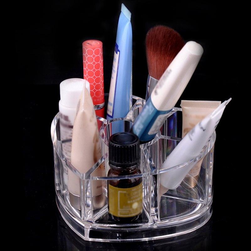 Desktop Storage Box Acrylic Heart-shaped Makeup Organizer Rack Holder YF2018