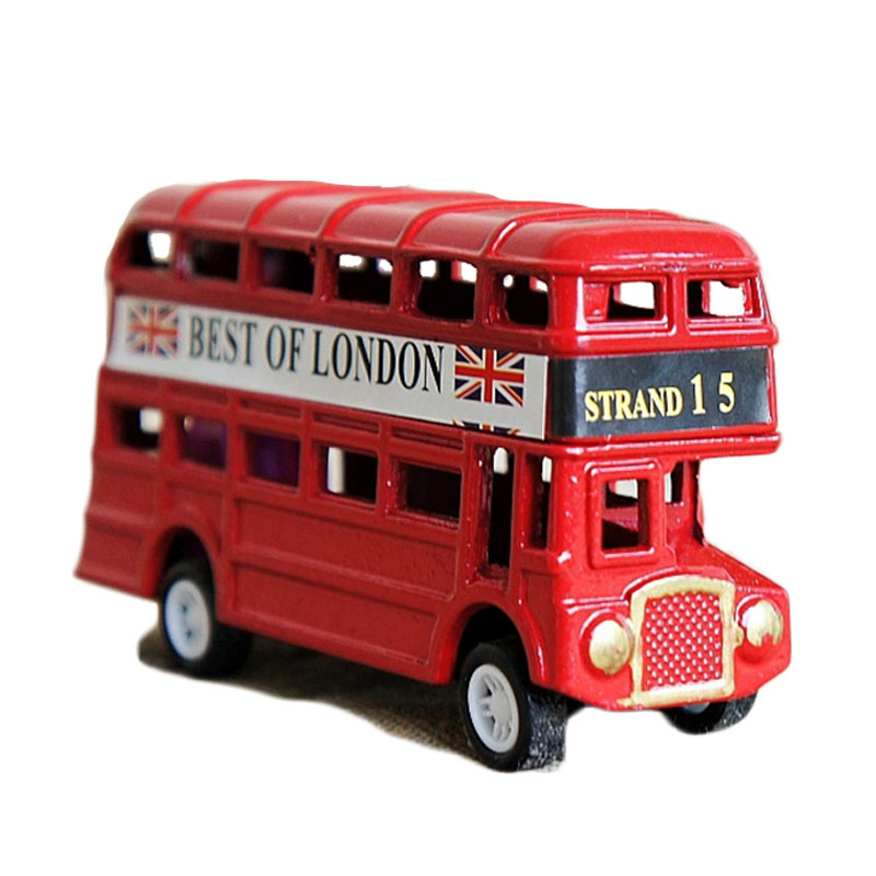 Vintage British Europe Bus Model Miniature Red Green Pencil Sharpener London Metal Retro Home Decoration Antique Children Toy(China)
