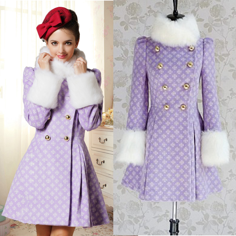 European Fashion Women Woolen Coat Winter Posed Show Purple /White Collars Double-Breasted Cloth Coat Design Brand Quality Super