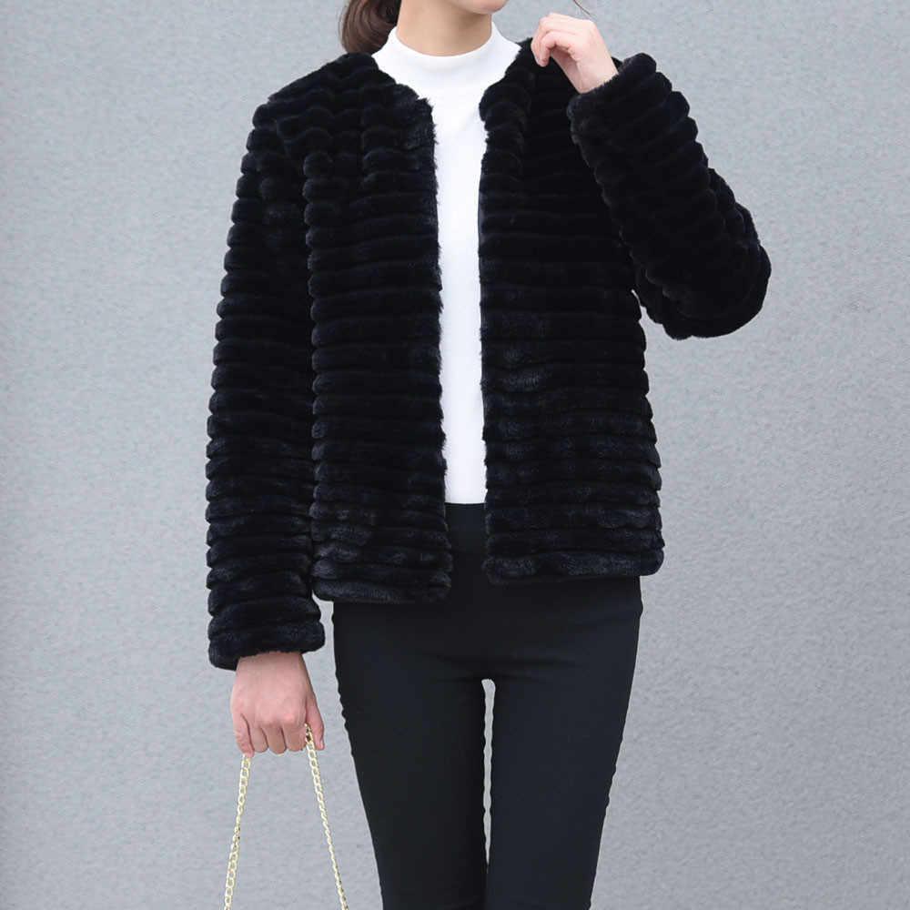 Furry Pelz Mantel Frauen Fluffy Warm Halten Lange Hülse weibliche jacke feste Oberbekleidung Herbst Winter Mantel Jacke Mantel Strickjacke