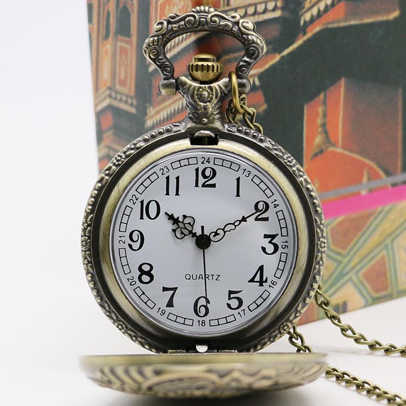Vintage Bronze Train Front Locomotive Engine Necklace Quartz Pocket Watch Chain P07 With Box