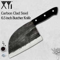 XYj Full Tang Chef Butcher Knife Handmade Forged High carbon Clad Steel Kitchen Knives Cleaver Filleting Slicing Broad knife