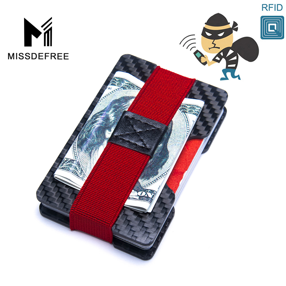 Carbon Fiber RFID Blocking Bills Money Clip Credit Card Protection Double Panel Holder Slim Wallet Minimalist Simple Small Purse edcgear abs double sides slim money clip card holder