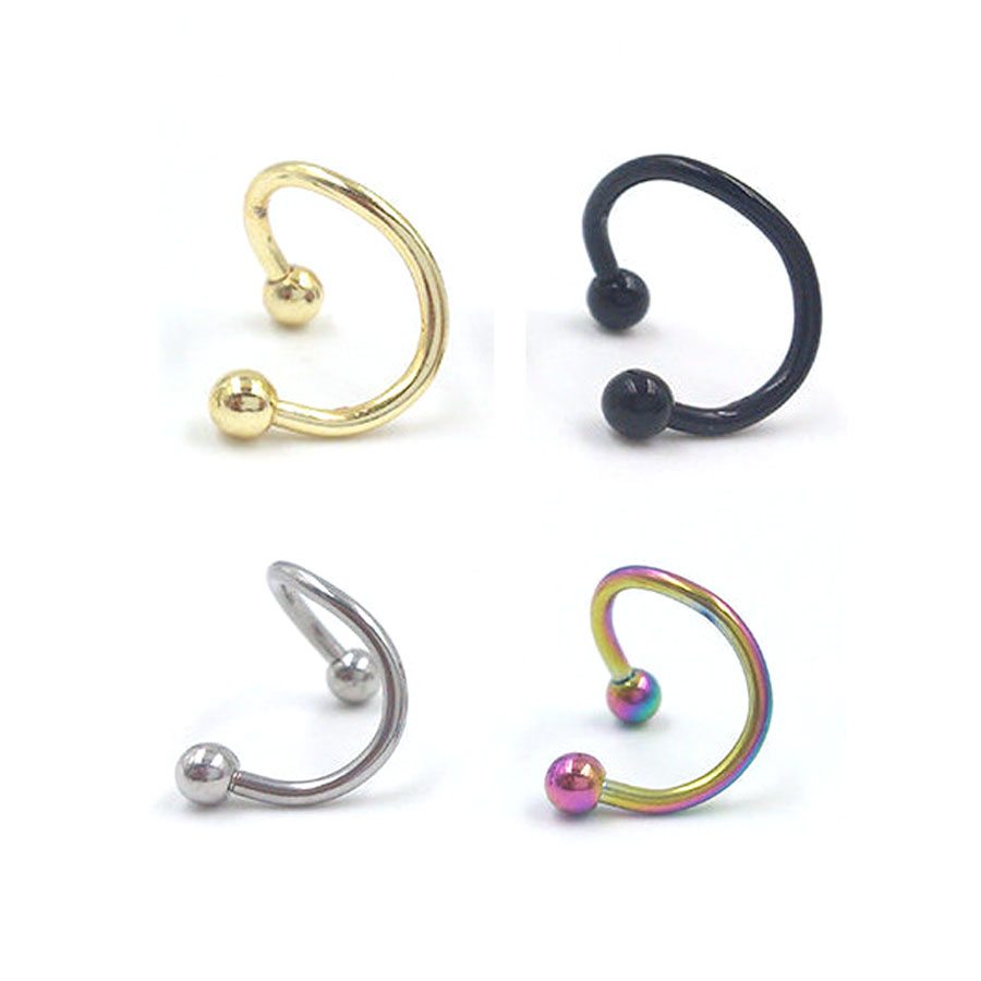ball Surgical Steel Spiral Twister Helix Rings Stud Lip Nose Ring Ear Ring Labret Rings ombligo Body Piercing Jewelry