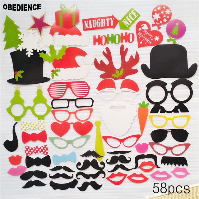 Obedience photo booth props 58pcs masks lips favor christmas party obedience photo booth props 58pcs masks lips favor christmas party event party supplies wedding party decoration solutioingenieria Image collections