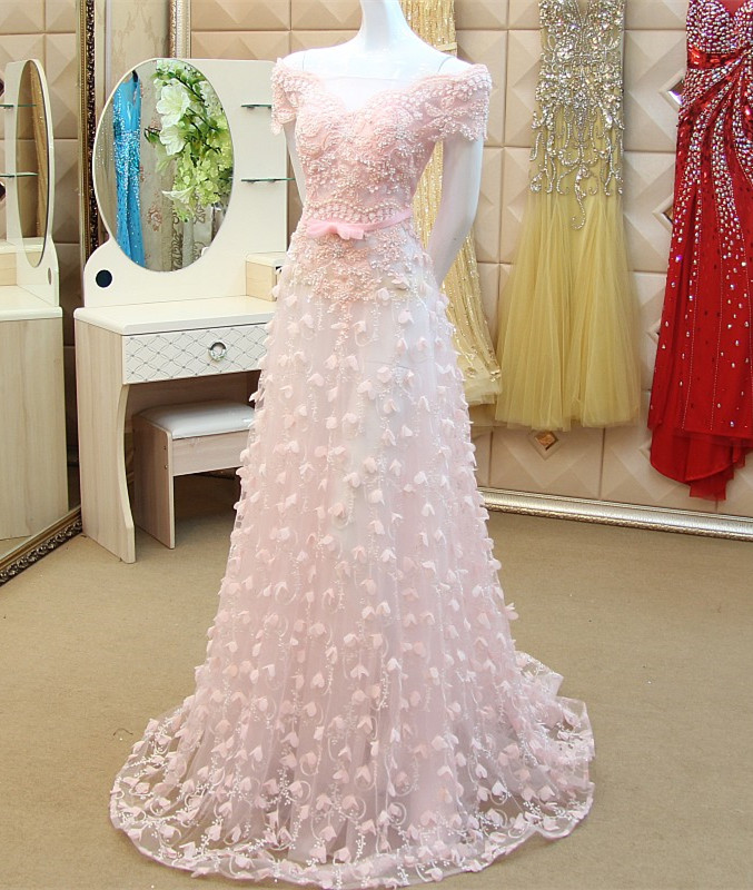 Custom Made Elegant 2015 New A line Short Sleeve Appliques Pearls   Evening     Dresses   Long Formal   Dresses   Long   Evening   Gowns XE52