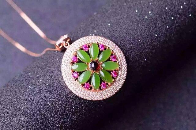 Natural jasper pingente S925 prata verde jade Natural Pingente de Colar de moda de luxo elegante rodada mulheres partido jóias