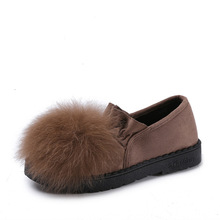 2019 Autumn  Winter New Flat Ladies Wool Cotton-padded Shoes Warm Deodorant Add Velveteen Pregnant