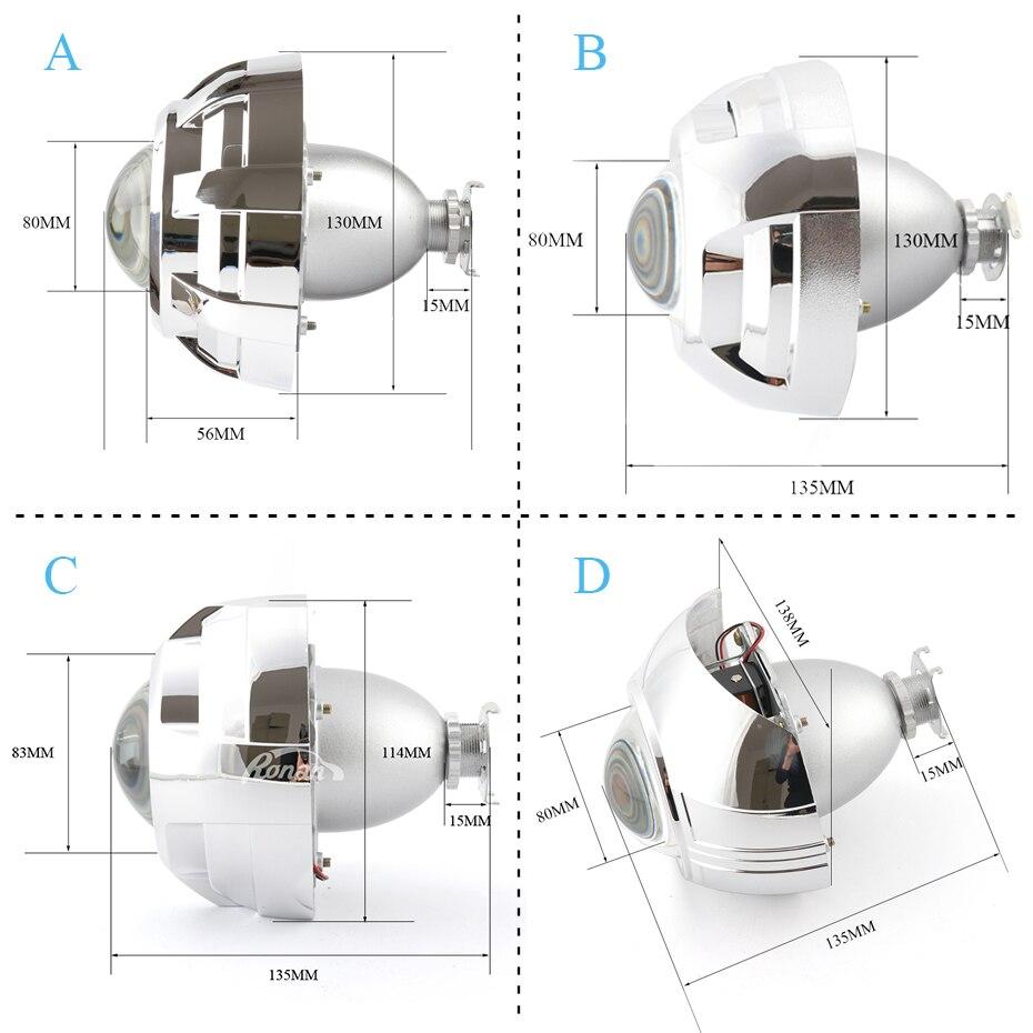 RONAN voiture style mise à niveau métal 3.0 H1 Pro HID Bi xénon projecteur lentille LHD RHD phare costume pour H4 H7 avec 3.0 pouces haubans - 2