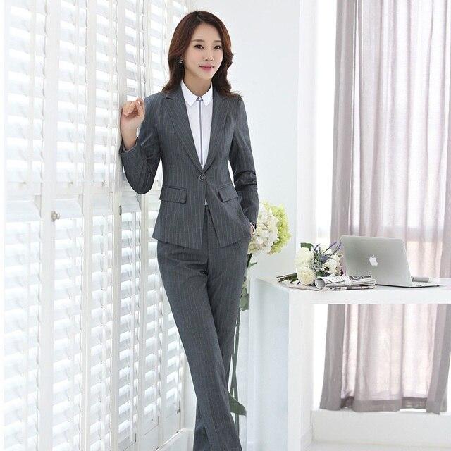 12Off Und Hose Professionelle Us46 Blazer Hosenanzüge Mit Gestreiften Plus Größe Jacken Hosen 38 Set Grau Frauen elegante Business Für Damen kXwPlOTuZi