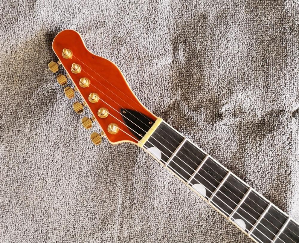 Высокое качество QShelly на заказ Оранжевый TL полый корпус f отверстие черное дерево гриф Золотой мост электрогитара музыкальный инструмент магазин