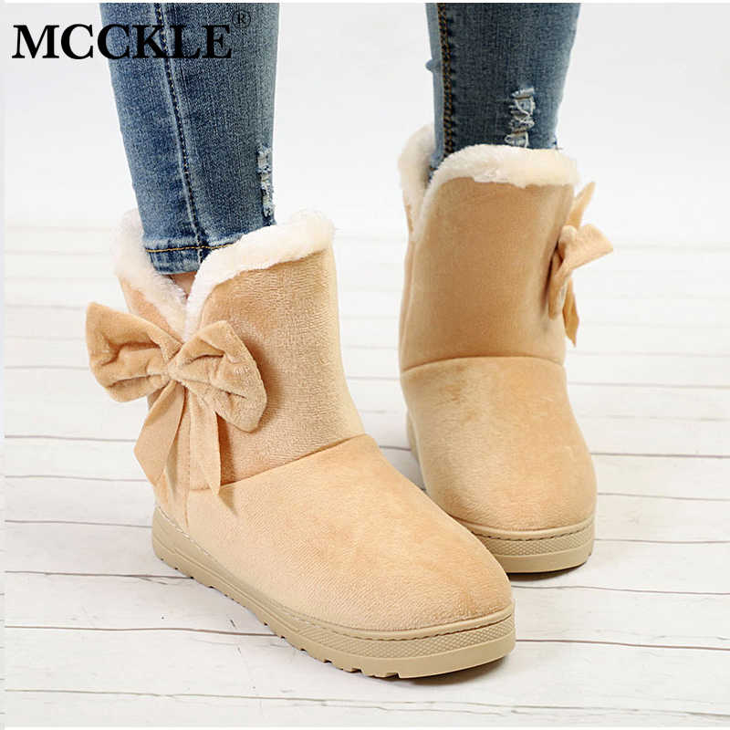 1950b4d56 MCCKLE Female Warmer Plush Bowtie Fur Suede Rubber Flat Slip On Winter Ankle  Snow Boots Women's