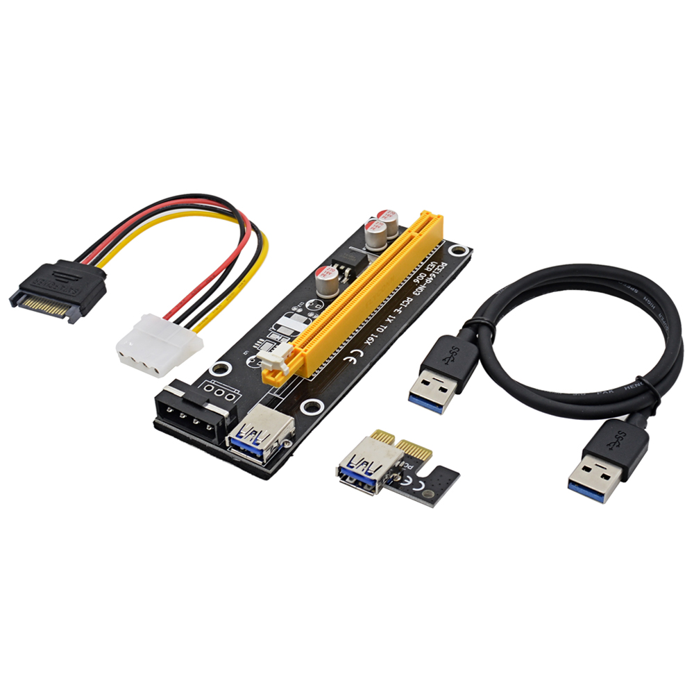 bilder für NOTAYO 50 sets 0,6 Mt PCI Express PCI-E 1X zu 16X Riser Card Extender mit USB 3.0 Kabel + Molex Netzkabel für Bitcoin Miner